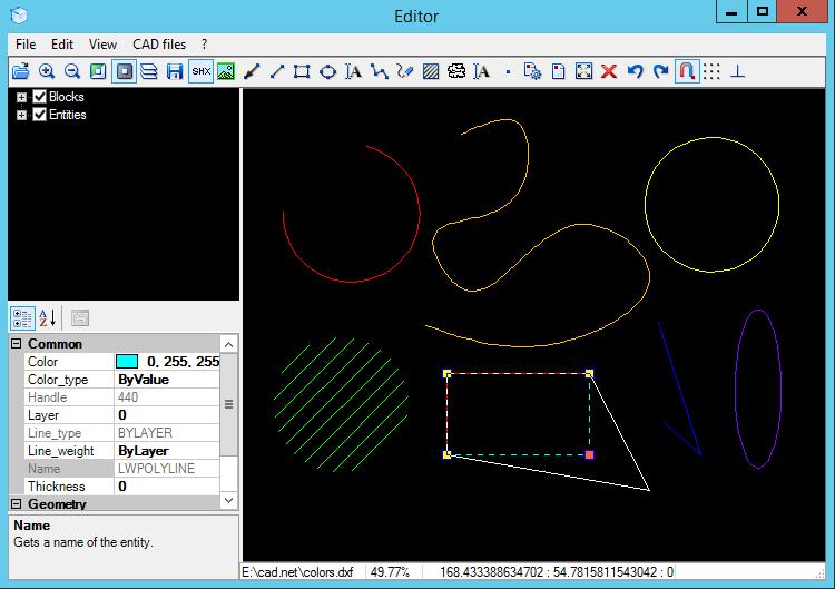 Редактирование примитивы в CAD .NET